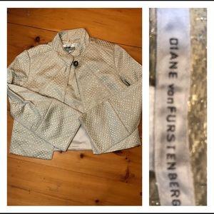 Diane Von furstenberg cream and gold jacket